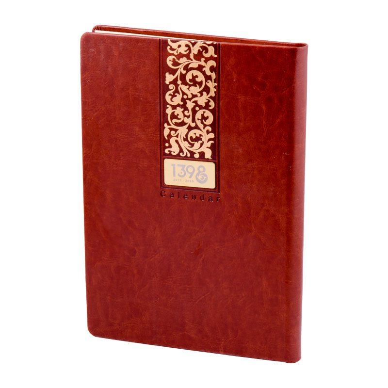 سررسید وزیری 1398 با جلد ترمو لب گرد - طلا و داغی | رنگ زرشکی